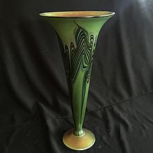 Lundberg studios( art glass) tall trumpet vase