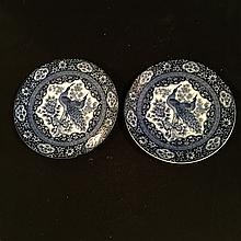 A pair of blue and white porcelain dishes