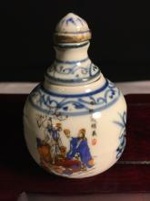 Hard to find blue and white enamel rotatable snuff bottle