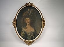 1800s Antique Victorian Lady Painting In Guilded Frame