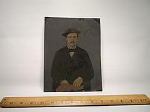 Large Antique Tin Type Photograph 9 x 7