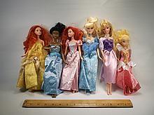 6 Disney Princess Barbie Dolls Lot