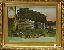 Oil On Board of Cabin Scene