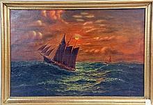 Oil on canvas moonlight scene