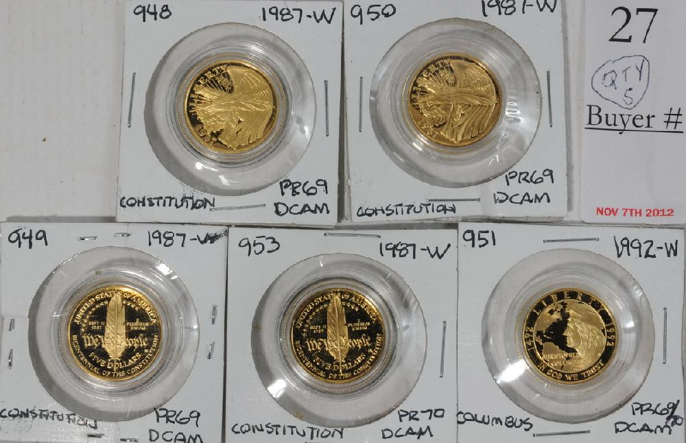 Collection of (5) Proof 1/4 ounce Commemorative Gold Coins