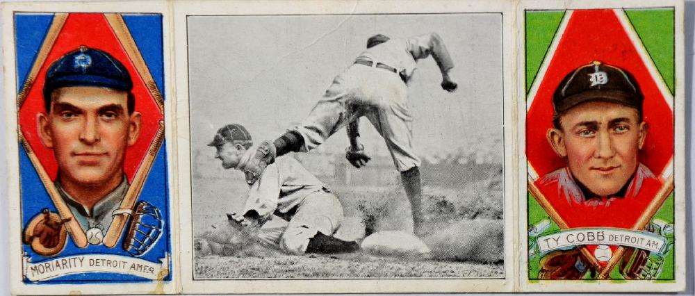 1912 T-202 Hassan Ty Cobb/George Moriarty, featuring Ty Cobb stealing 3rd in center panel