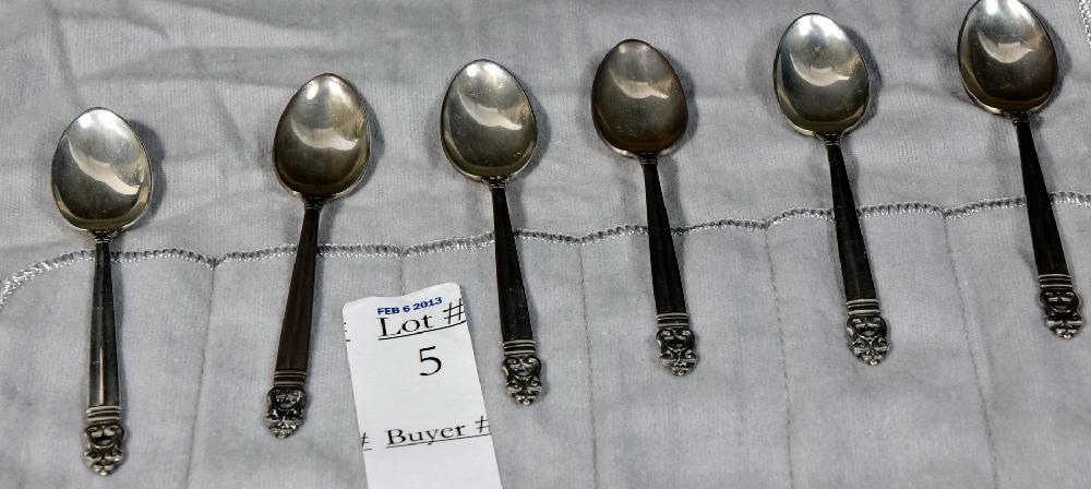 Six Royal Danish Sterling Demitasse Spoons 2.55 Troy Ounces