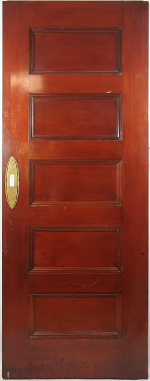 5 Panel oak Door stained Cherry on one side 81Hx32Wx1and5/8D