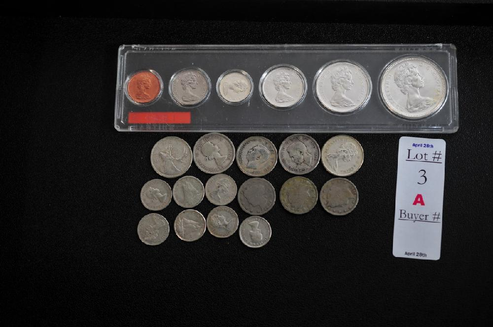 3 Liberty head V nickels 1904, 1909, 1912.  1967 Canadian proof set, 5 canandian silver quarters, 7 canadian silver dimes