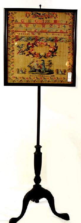 Alphabet Sampler Circa 1841 Made by Elizabeth LB Crozer on stand for display sampler is 20x19