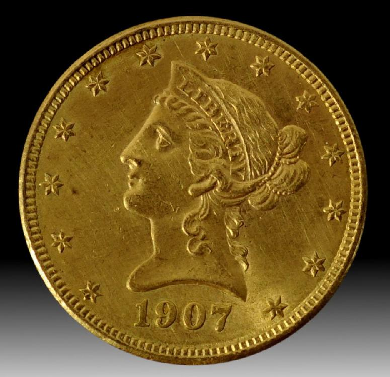 1907 D $10 Liberty Gold Coin Ungraded Mint State