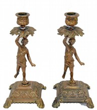 Pair of Bronze Figural Candlesticks 10