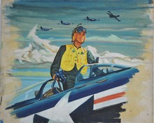 Gouache painting of Korean War Pilot