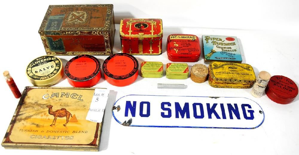 Collection of Advertising Tins including porcelain