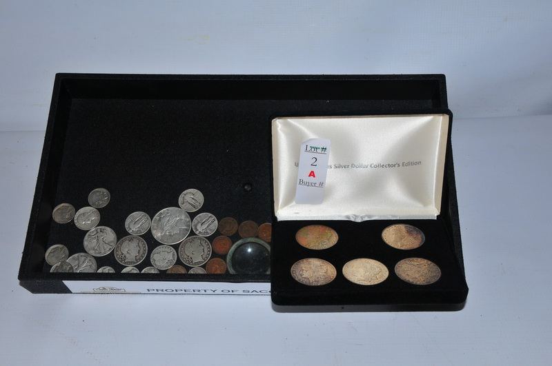 Misc coins to include US Silver Dollar Collector's Edition 1902 S, 1902 S Barber Half Dollar, 1892 Indian Cent, 1894 Indian Cent, 1955 Proof Roosevelt Dollar, 1943 S Liberty Walking Half Dollar and 1887 Liberty