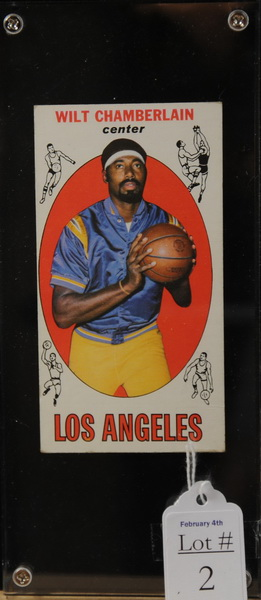 1969 Wilt Chamberlain Los Angeles Basketball Card, Stats Listed on Back with Info