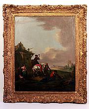 Pieter VAN BLOEMEN (1657-1720).    Halte de cavalerie, le cheval blessé.