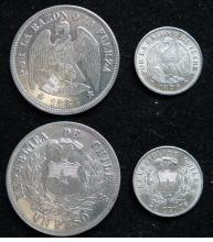 Argent - Chilie - 1 Peso 1894 Republica type 2. 900. 25g. 37mm. 20 centavos 1876 Republica type 2. 835. 5g. 23mm.