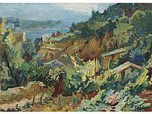 EMILIO BOSCH ROGER (Barcelona, 1894-1980) - Landscape of mountains, hamlet and sea