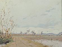 LUIS MARÍA GUELL (Vilafranca del Penedés, Barcelona, 1909-2001) - Landscape of grassland in greys