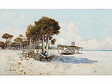 JOSÉ NAVARRO LLORENS (Valencia, 1867-1923) - Beach scene with fisherman and cabin