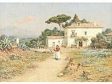 GUILLERMO GÓMEZ GIL (Málaga, 1862-Cádiz, 1942) - Young girl with water jug at a farmhouse