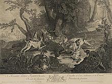 NICOLAS CHARLES DE SILVESTRE 1699-1767 - ESCENA DE CAZA