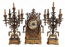 MANTLE CLOCK AND GARNITURE 19th CENTURY