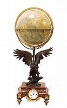 CLOCK WITH GLOBE 19th CENTURY