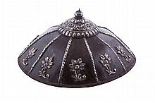 A tortoise shell salakot with silver flowers and trimming, early 20th century