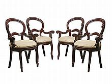 A set of four molave chairs with armrest, by Ronnie Laing