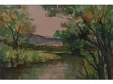 Vicente Manansala - A lot of two untitled landscape paintings
