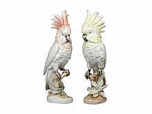 A pair of ceramic cockatoo bird figurines, Czech Republic