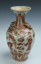 Chinese Painted Red and Green Vase