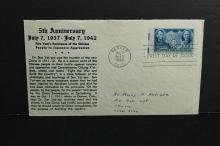 1942 First Day of issue Cover 5th anniversary  Lincoln and Sun Yat-Sen stamp