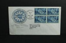 1942 first day cover   full pane of four Lincoln and Sun Yat-Sen stamps