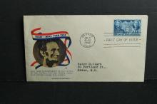 1942 cover  First Day of issue   Lincoln and Sun Yat-Sen stamp