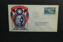 1942 5-year war with Japan cover  First Day of issue   Lincoln and Sun Yat-Sen stamp