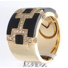 Genuine 14K Yellow Gold 0.47ctw Onyx & Diamond Ring