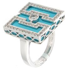Genuine 14K White Gold 7.22ctw Turquoise & Diamond Ring