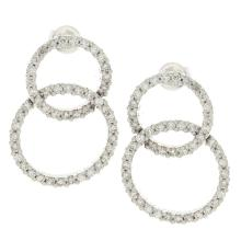 Genuine 14K White Gold 2.41ctw Diamond Earrings