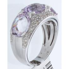 Genuine 14K White Gold 5.95ctw Pink Amethyst & Diamond Ring