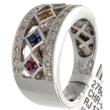 Genuine 14K White Gold 0.68ctw Rainbow Sapphire & Diamond Ring
