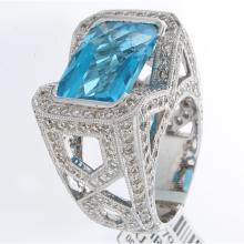 Genuine 18K White Gold 12.6ctw Topaz & Diamond Ring