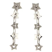 Genuine 14K White Gold 0.78ctw Diamond Earrings