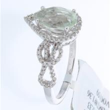 Genuine 14K White Gold 1.69ctw Green Amethyst & Diamond Ring