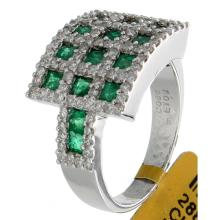 Genuine 14K White Gold 2.03ctw Emerald & Diamond Ring
