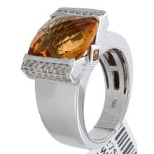 Genuine 14K White Gold 6.44ctw Citrine & Diamond Ring