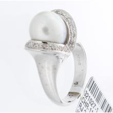Genuine 14K White Gold 9.27ctw Pearl & Diamond Ring