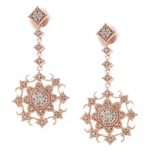 Genuine 14K Rose Gold 0.33ctw Diamond Earrings